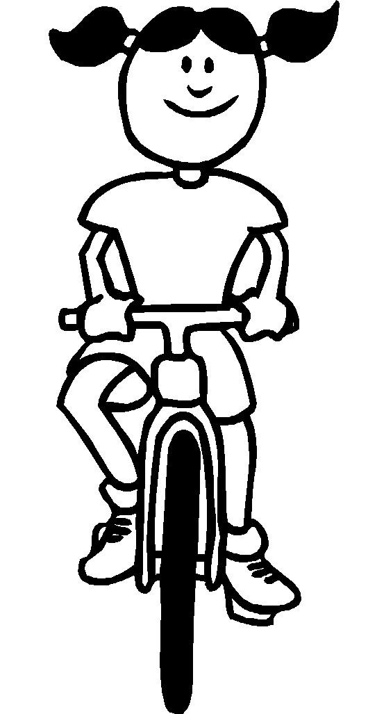 Coloriage et dessins gratuits La Fille qui conduit La Bicyclette à imprimer