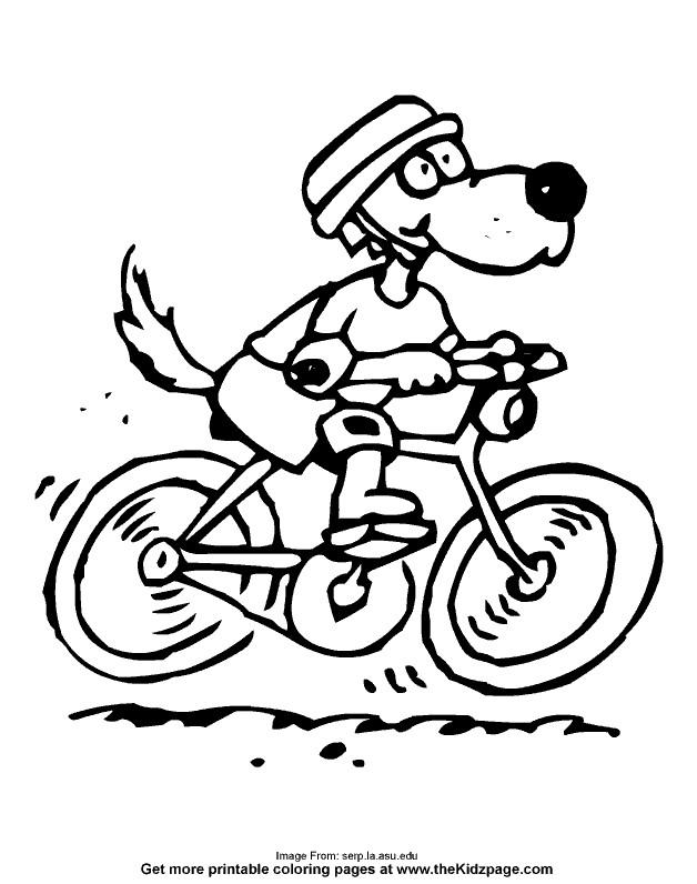 Coloriage et dessins gratuits Le Chien conduit sa Bicyclette à imprimer