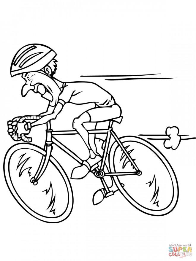 Coloriage et dessins gratuits Le Cycliste rapide à imprimer