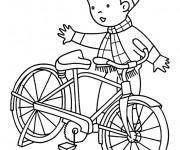 Coloriage et dessins gratuit Le Garçon et sa Bicyclette à imprimer