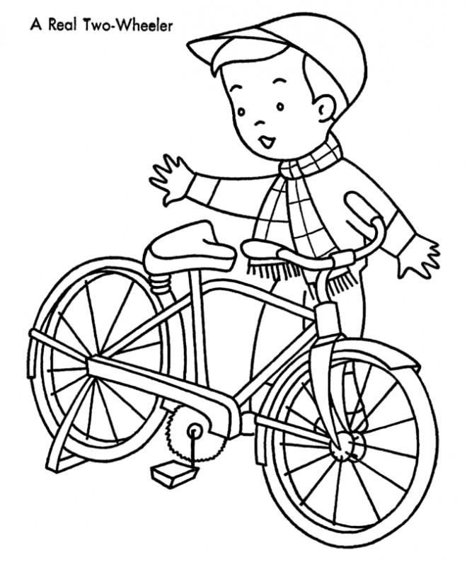Coloriage et dessins gratuits Le Garçon et sa Bicyclette à imprimer