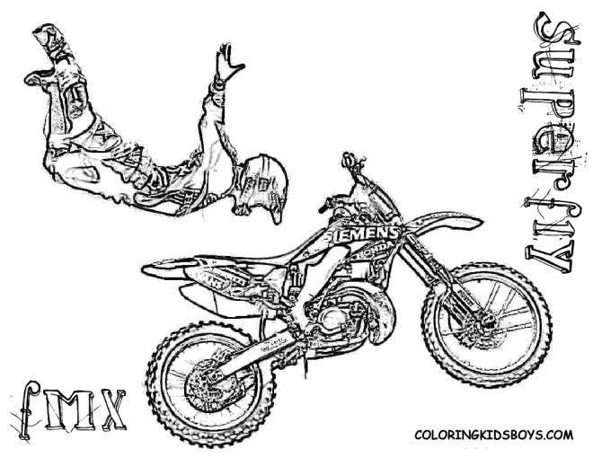 Coloriage Moto Cross De Course Dessin Gratuit A Imprimer