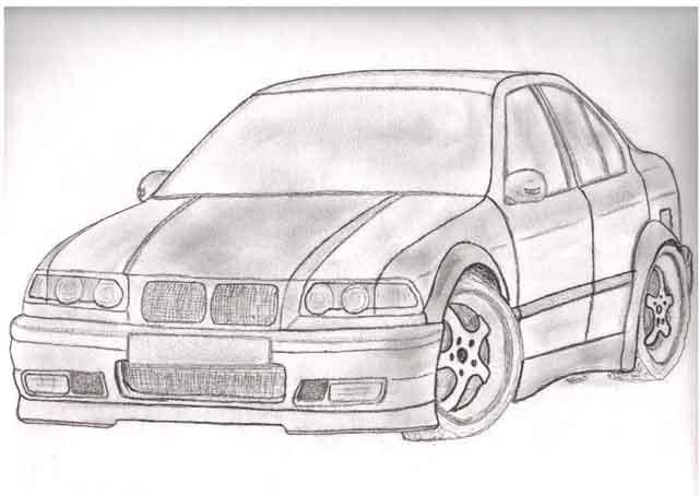 Coloriage et dessins gratuits BMW dessiné par le crayon à imprimer