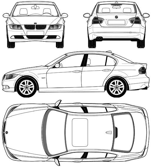 Coloriage et dessins gratuits BMW e30 de différents perspectives à imprimer