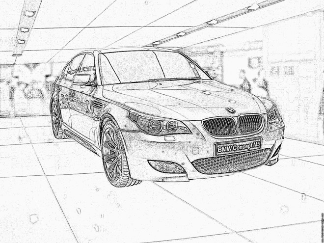 coloriage bmw m5 dans le garage dessin gratuit imprimer. Black Bedroom Furniture Sets. Home Design Ideas