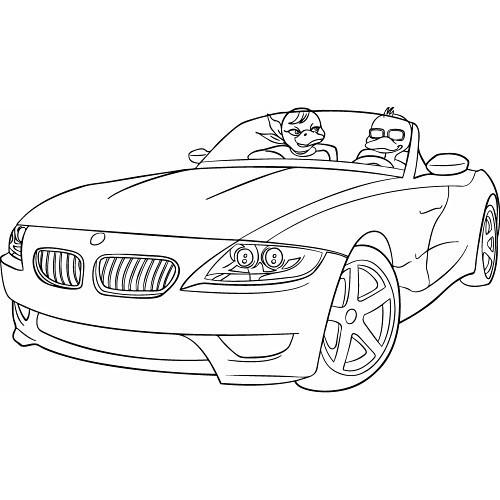 Coloriage et dessins gratuits Les Canards dans BMW décapotable à imprimer