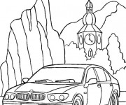 Coloriage et dessins gratuit Voiture BMW dans la Nature à imprimer
