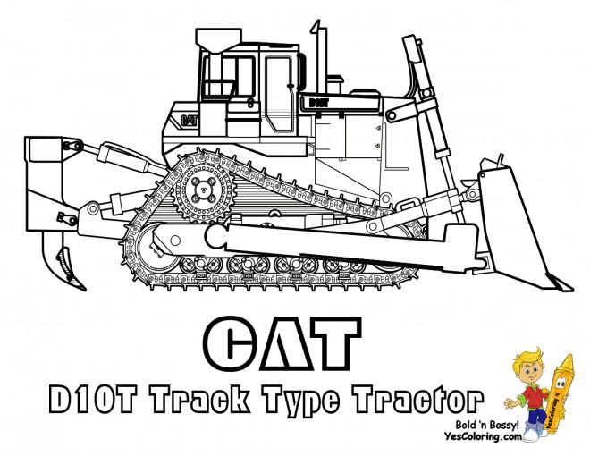 Coloriage et dessins gratuits Bulldozer CAT à chenilles à imprimer