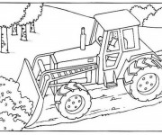 Coloriage Bulldozer chantier