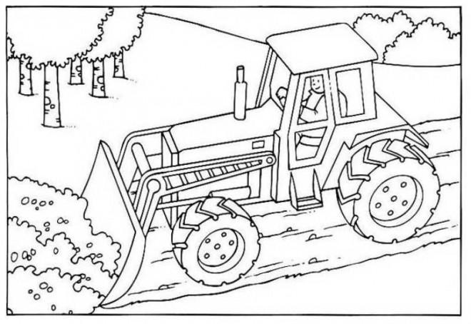 Coloriage bulldozer chantier dessin gratuit imprimer - Coloriage de pelleteuse ...