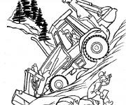 Coloriage et dessins gratuit Bulldozer en activité sur le chantier à imprimer