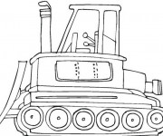 Coloriage Bulldozer en couleur