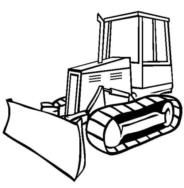 Coloriage et dessins gratuits Bulldozer en noir et blanc à imprimer