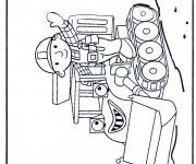 Coloriage Bulldozer et ouvrier dessin animé
