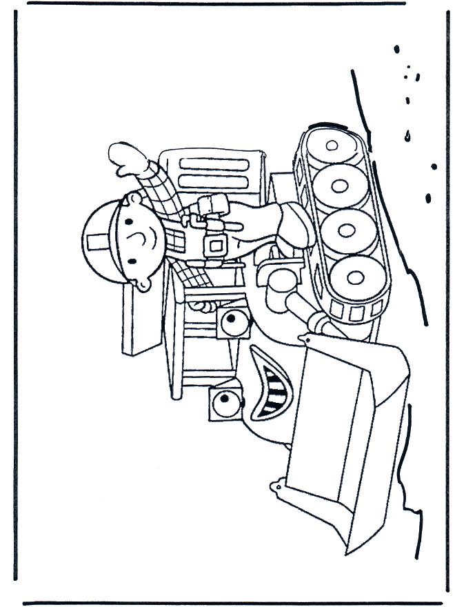 Coloriage et dessins gratuits Bulldozer et ouvrier dessin animé à imprimer