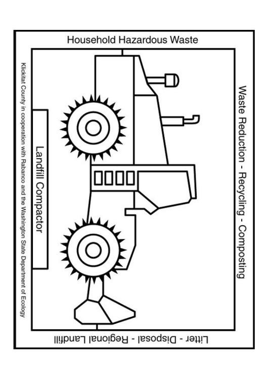 Coloriage et dessins gratuits Bulldozer pour recyclage à imprimer