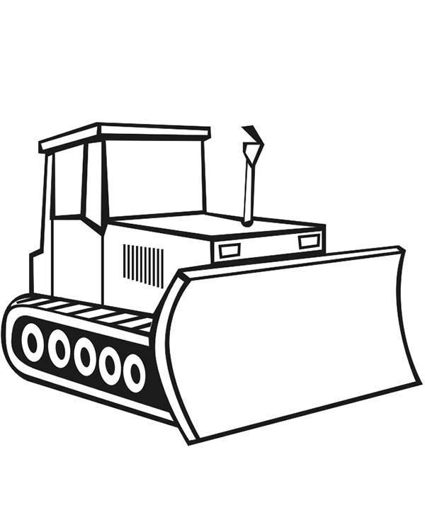 Coloriage et dessins gratuits Bulldozer Tractopelle à imprimer