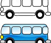 Coloriage et dessins gratuit Autobus à  colorier en bleu à imprimer