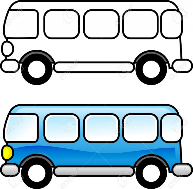 Coloriage et dessins gratuits Autobus à  colorier en bleu à imprimer