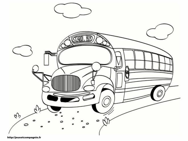 Coloriage et dessins gratuits Autobus scolaire en route à imprimer