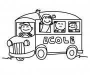 Coloriage Bus d'École sur route