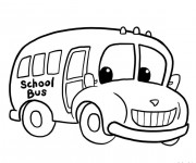 Coloriage et dessins gratuit Bus d'enfant tout heureux à imprimer