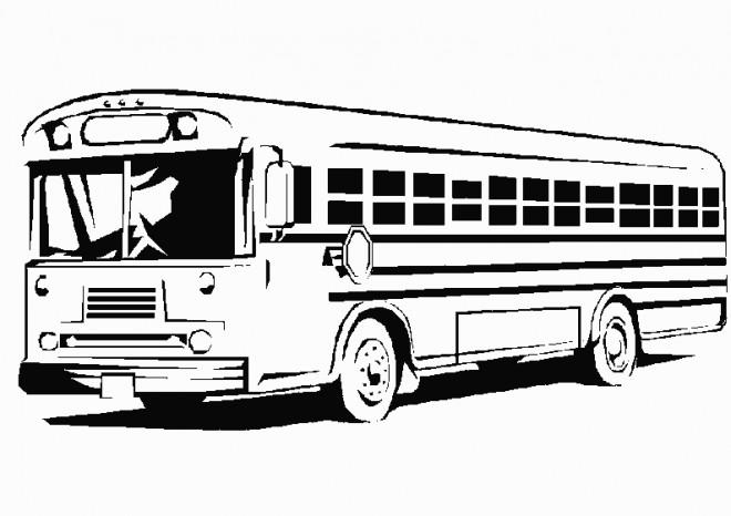 Coloriage et dessins gratuits Bus Enfant en noir et blanc à imprimer
