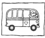 Coloriage et dessins gratuit Bus Enfant et la souris chauffeur à imprimer