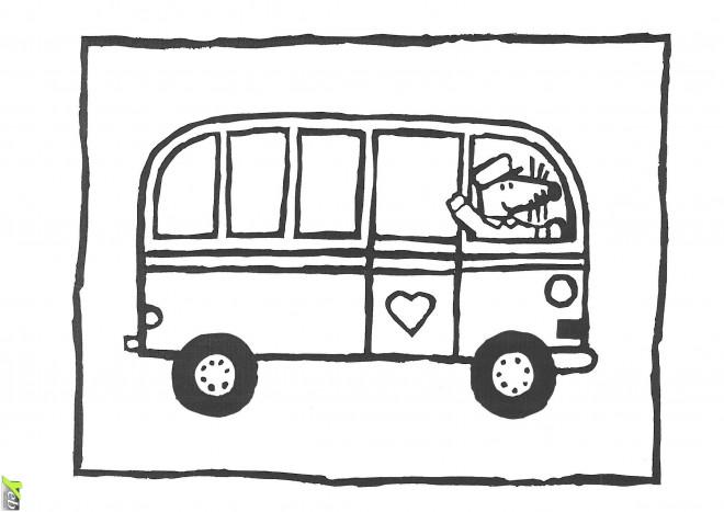 Coloriage et dessins gratuits Bus Enfant et la souris chauffeur à imprimer