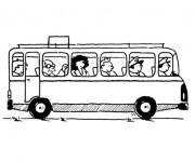 Coloriage et dessins gratuit Passagers et Autobus à imprimer