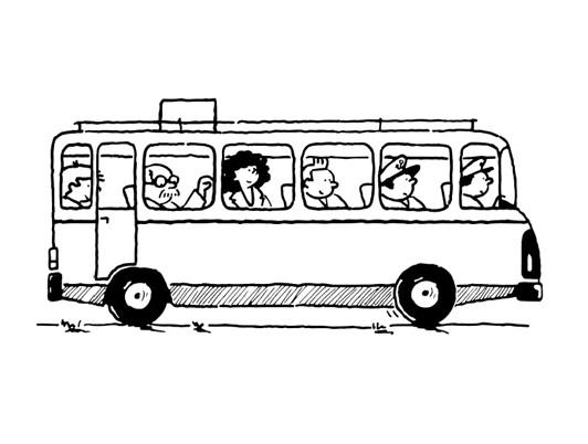 Coloriage et dessins gratuits Passagers et Autobus à imprimer