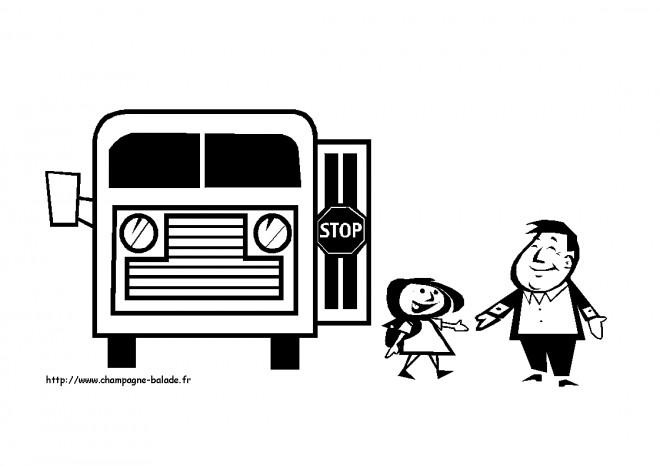 Coloriage et dessins gratuits Père et sa fille sortant de bus scolaire à imprimer
