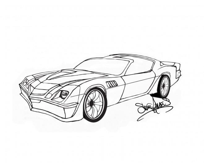 Coloriage et dessins gratuits Camaro artistique à imprimer