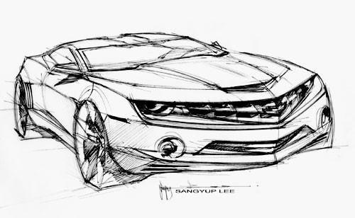 Coloriage et dessins gratuits Camaro perspective stylistique à imprimer