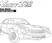 Coloriage et dessins gratuit Camaro Z28 avec son moteur nerveux à imprimer