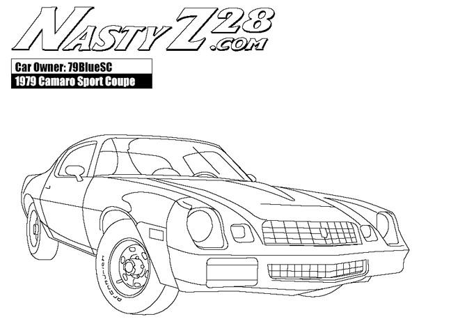 Coloriage et dessins gratuits Camaro Z28 avec son moteur nerveux à imprimer