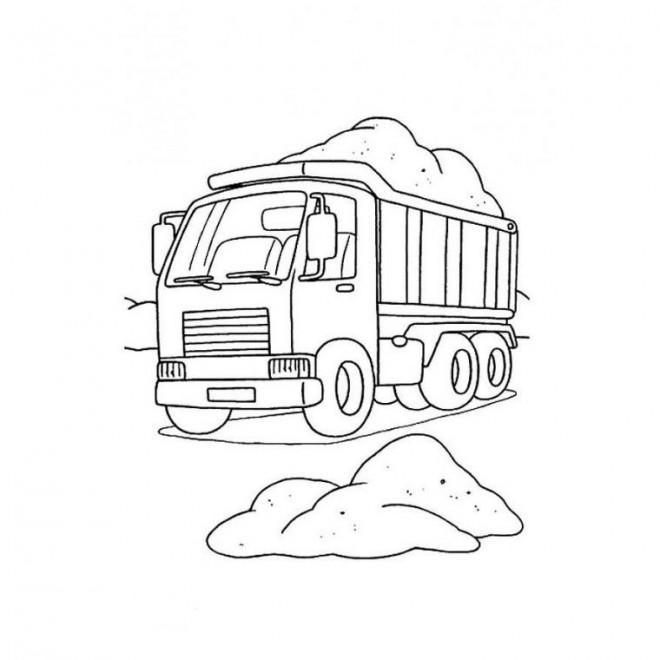 Coloriage et dessins gratuits Camion Benne à découper à imprimer