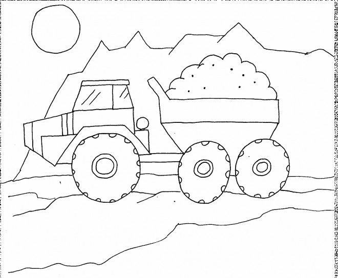 Coloriage et dessins gratuits Camion Benne au chantier à imprimer