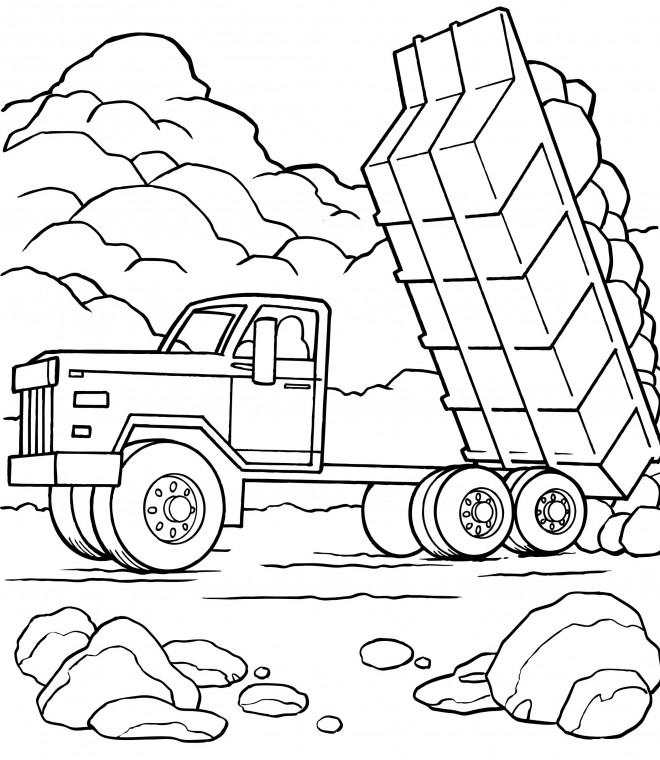 Coloriage et dessins gratuits Camion Benne de chantier couleur à imprimer
