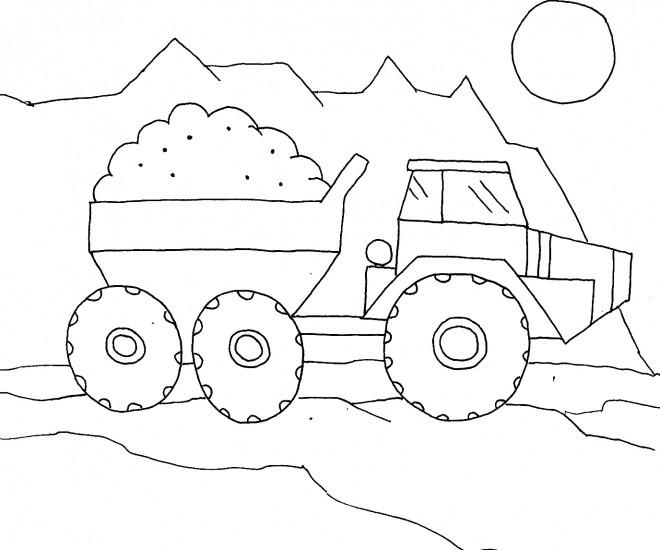 Coloriage et dessins gratuits Camion Benne dessiné par enfant à imprimer