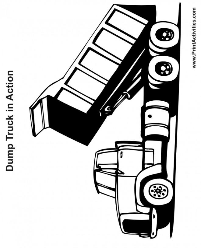 Coloriage et dessins gratuits Camion Benne en noir à imprimer