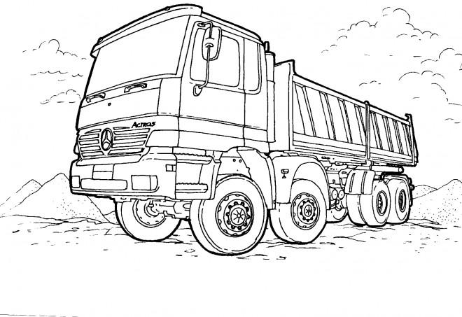 Coloriage et dessins gratuits Camion Benne Mercedes à imprimer