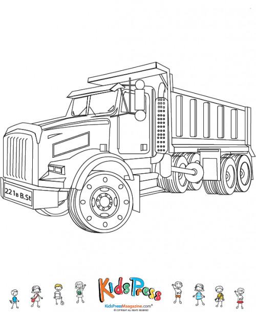 Coloriage et dessins gratuits Camion Benne pou activités de transport à imprimer