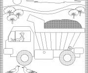 Coloriage et dessins gratuit Camion Benne pour enfants à imprimer