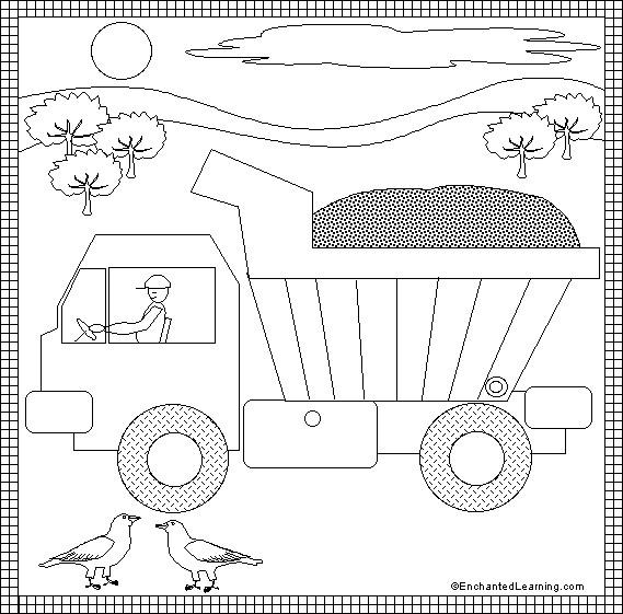 Coloriage et dessins gratuits Camion Benne pour enfants à imprimer
