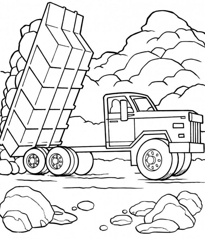 Coloriage et dessins gratuits Camion Benne pour transporter les matériaux à imprimer