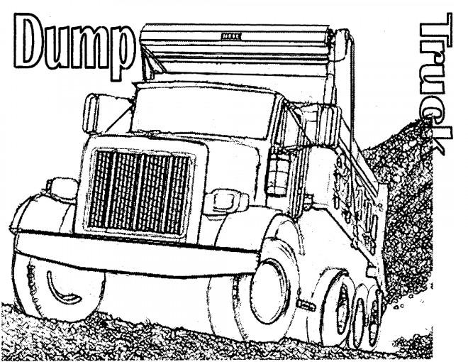 Coloriage et dessins gratuits Camion Benne pour Travaux de construction à imprimer
