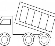 Coloriage et dessins gratuit Camion remorque facile à imprimer
