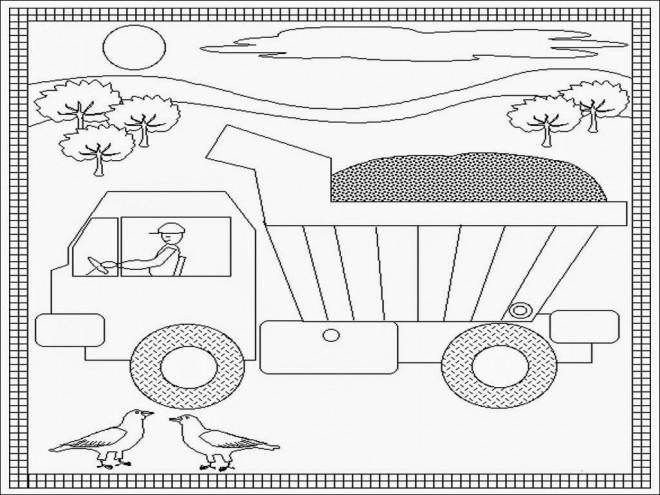Coloriage et dessins gratuits Paysage facile d'un Camion Benne à imprimer