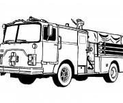 Coloriage et dessins gratuit Camion de Pompier américain à imprimer